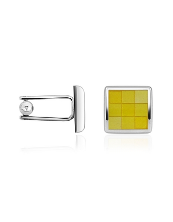 Forzieri - Enamel Checked Silver Plated Square Cuff Links