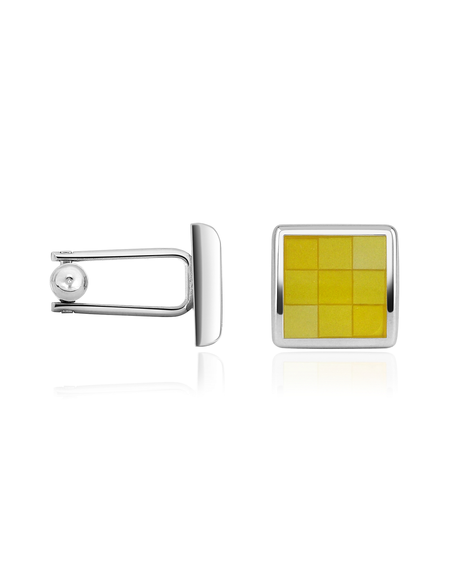Forzieri Designer Cufflinks, Enamel Checked Silver Plated Square Cuff Links