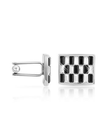 Forzieri Black & White Swarovski Crystal Silver Plated Cuff Links