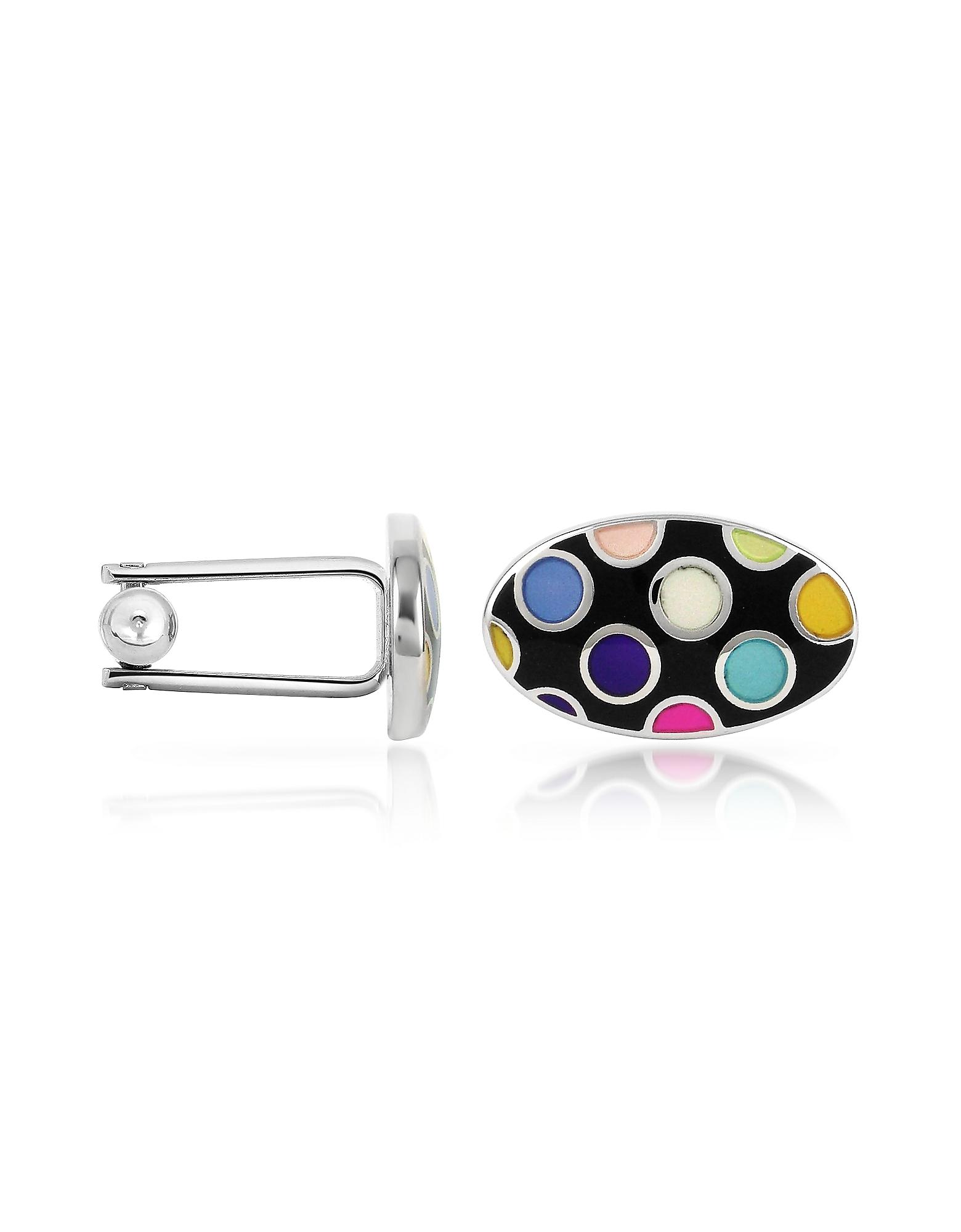 Запонки из Напыления Серебра с Разноцветными Горошками из Эмали