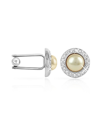 Edwardian Men's Accessories Crystal Framed Pearl Cufflinks $237.00 AT vintagedancer.com