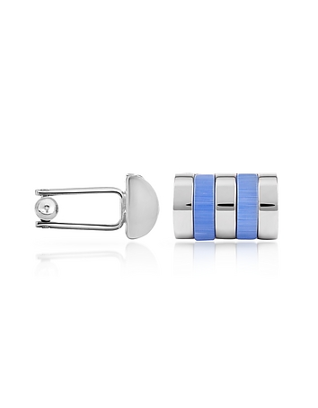 Forzieri - Sky Blue Bands Silver Plated Cuff Links