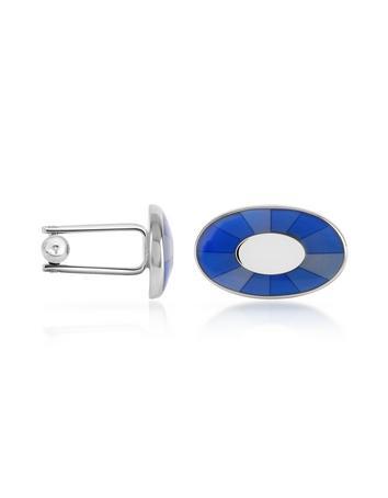 Blue Enamel Silver Plated Oval Cuff Links