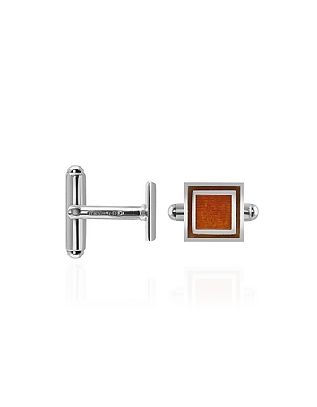 Forzieri - Brown Sterling Silver Square Cuff Links