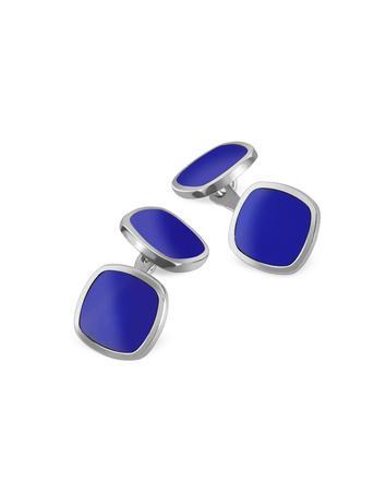 Forzieri 方形蓝色纯银袖扣