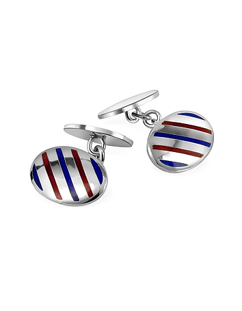 Forzieri - Oval Striped Sterling Silver Double Sided Cufflinks