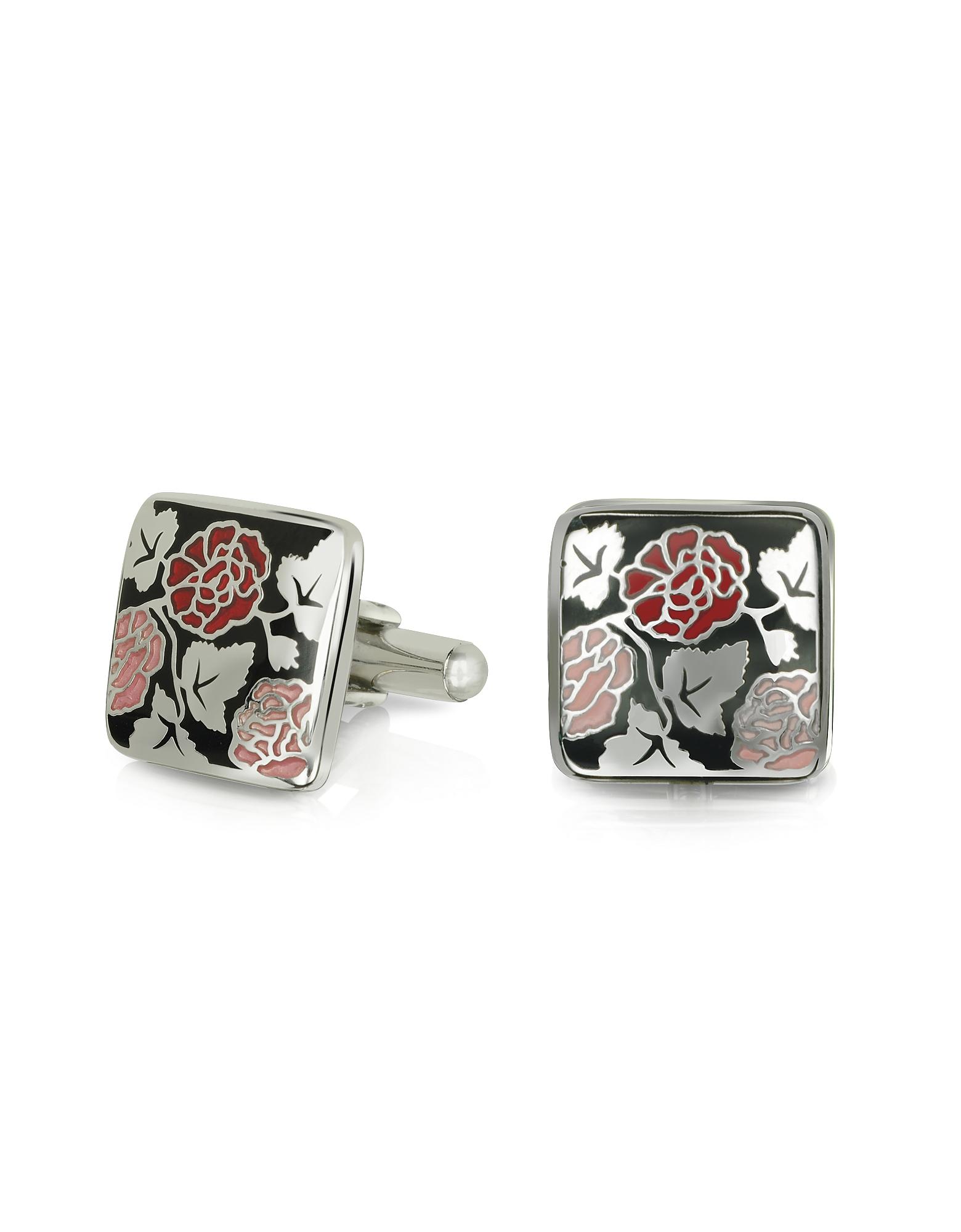 Fashion Garden - Roses Square Cufflinks, Black