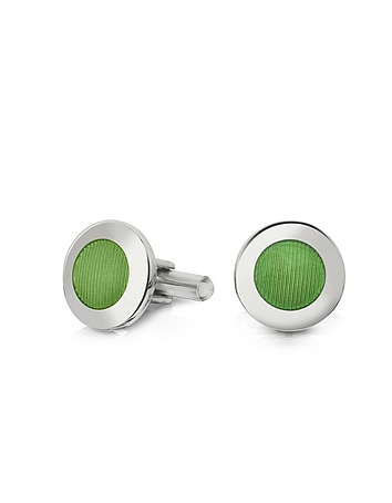 Forzieri - Dandy - Round Striped Enamel Cufflinks