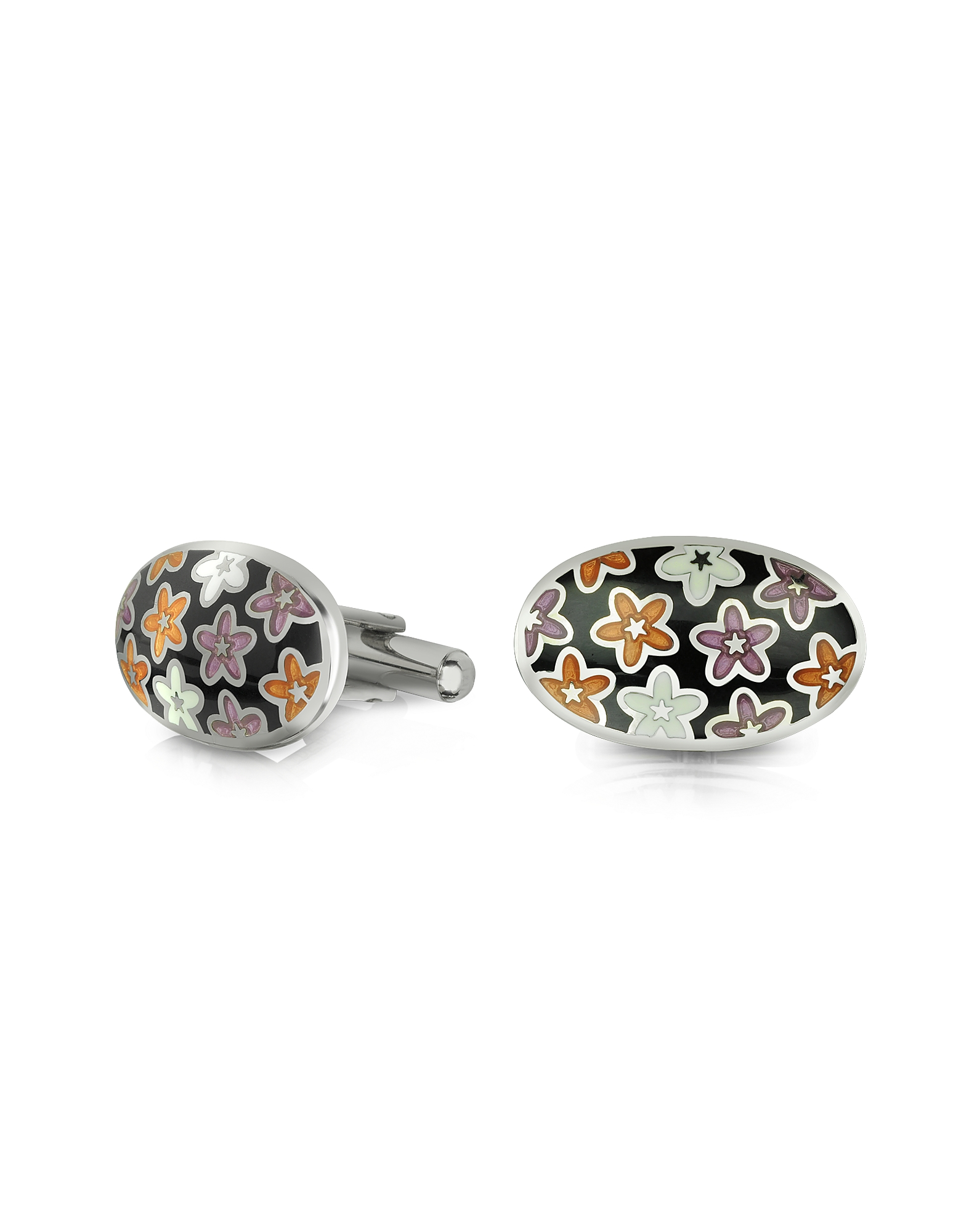 Forzieri Designer Cufflinks, Dandy - Metal and Enamel Oval Cufflinks