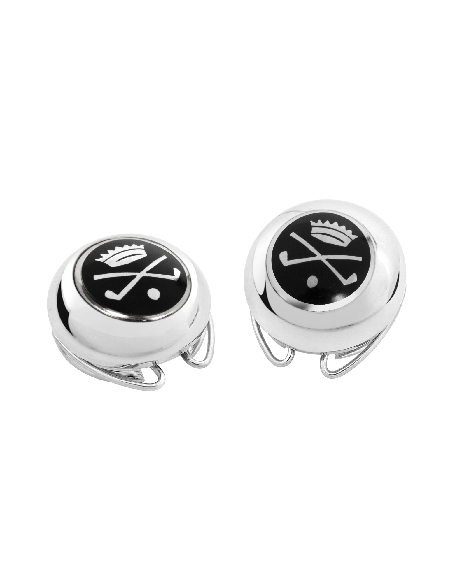 Image of Golf and Crown Silver Plated Button Covers