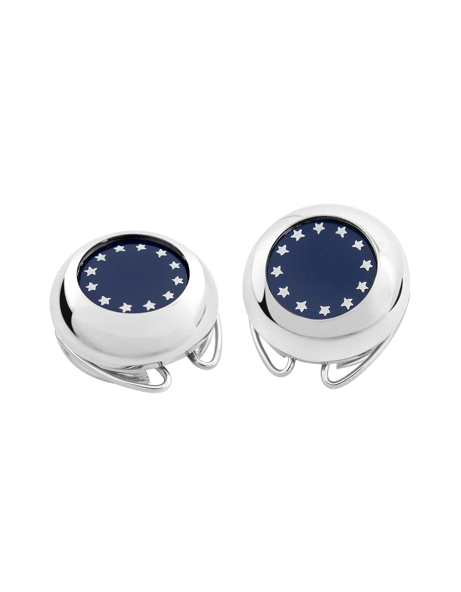 Image of Silver Plated European Flag Button Covers