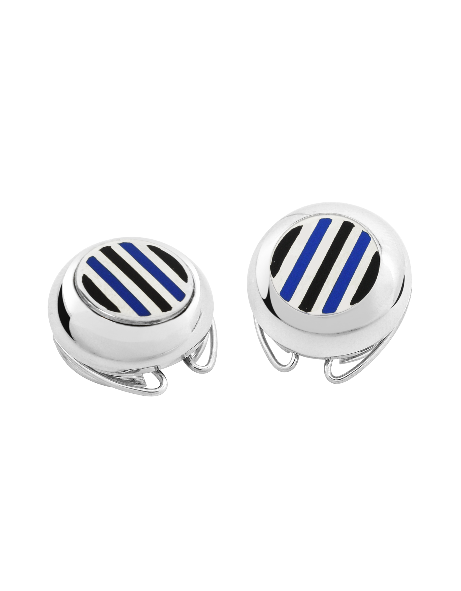 Image of Striped Silver Plated Button Covers