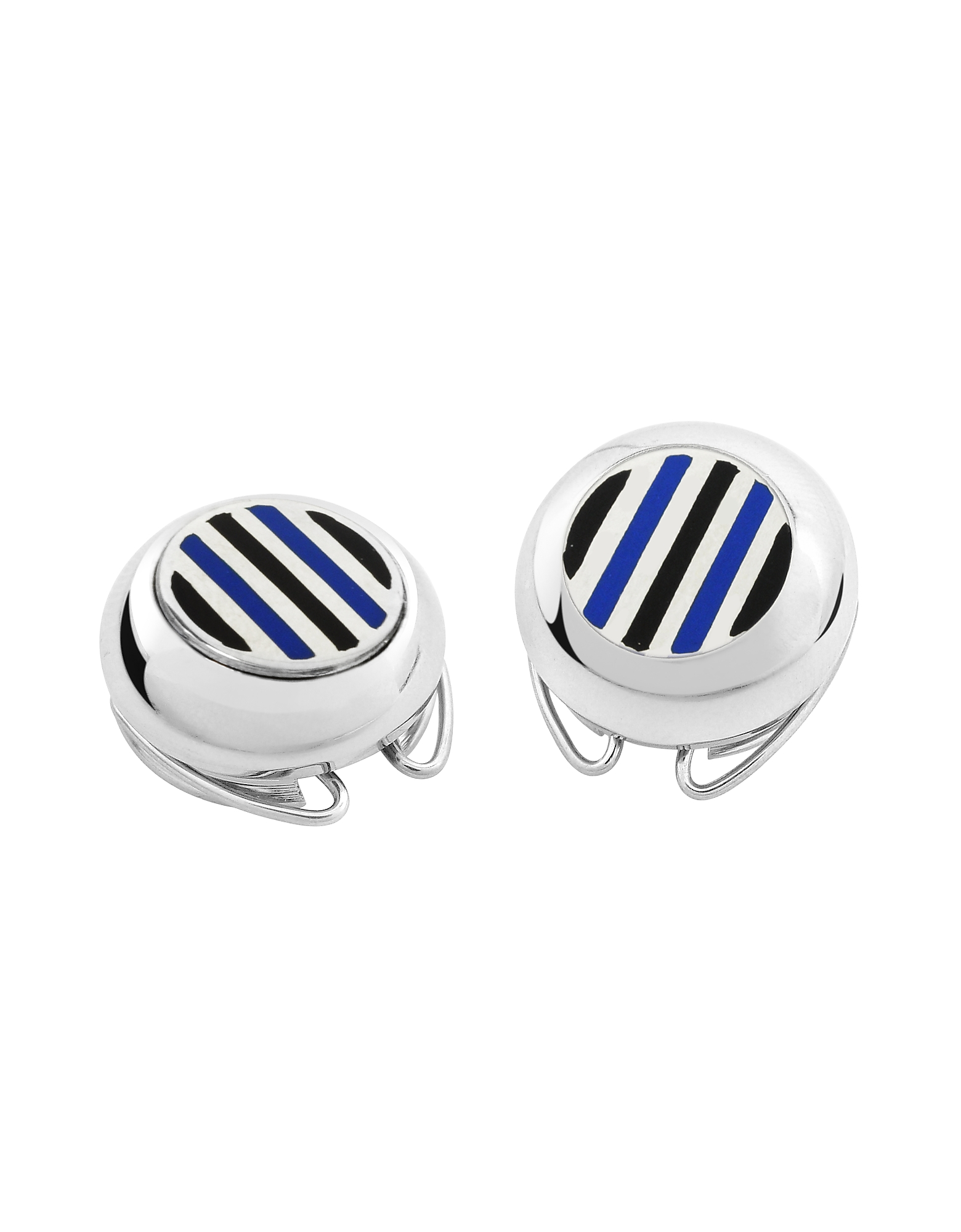 Forzieri Button Covers, Striped Silver Plated Button Covers