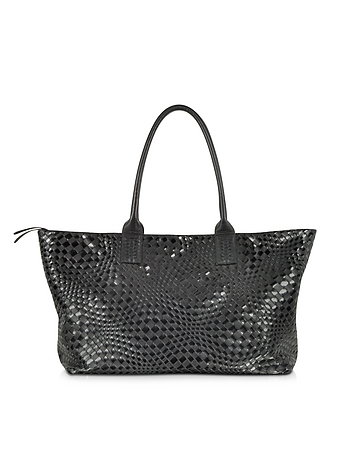 Large Black Woven Leather Tote
