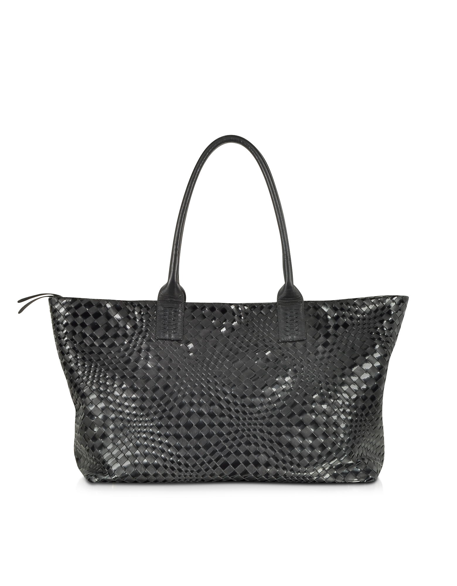 Forzieri Designer Handbags, Large Black Woven Leather Tote