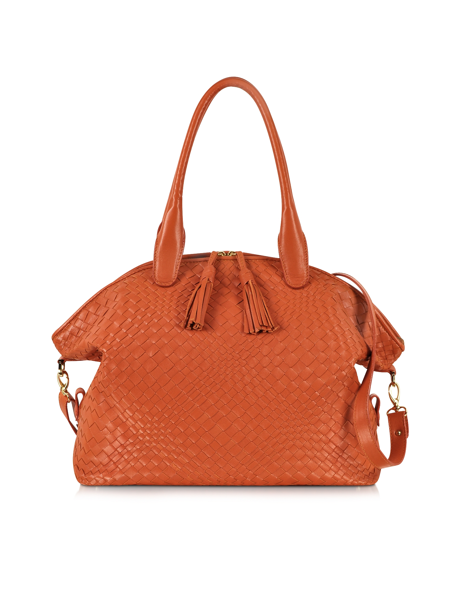Forzieri Handbags, Orange Woven Leather Bowler Bag