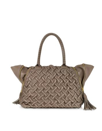 Taupe Pleated Leather Tote