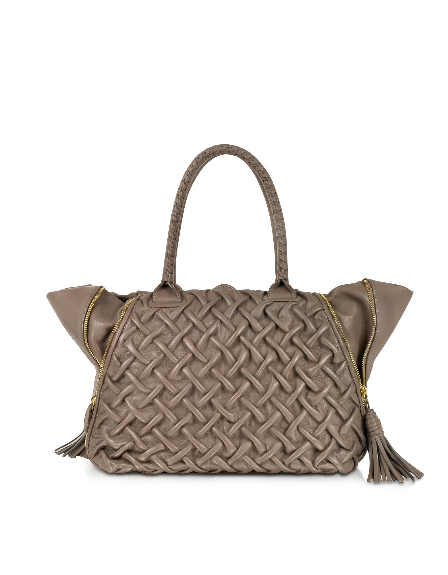 Forzieri Handbags, Taupe Pleated Leather Tote