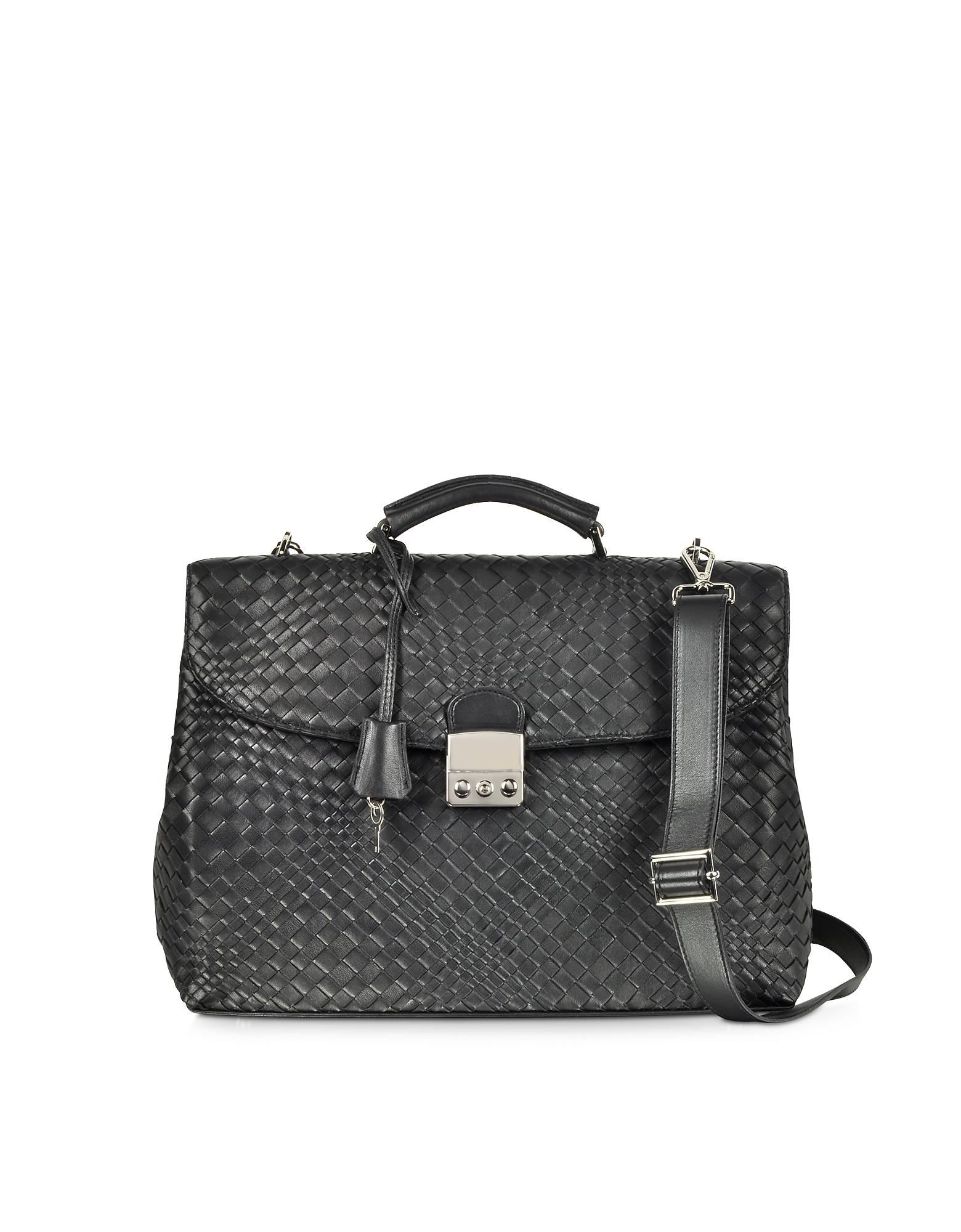 Black Woven Leather Business Bag w/Shoulder Strap