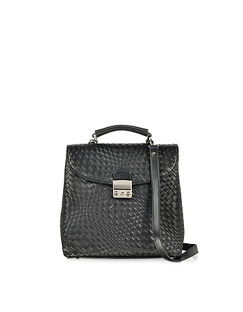 Forzieri - Black Woven Leather Vertical Messenger