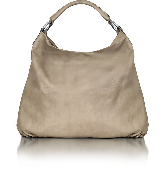 Large Taupe Leather Hobo   - Forzieri
