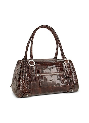 Forzieri Dark Brown Croco Patent Leather Bowling-style Bag :  leather bag bags brown accessories