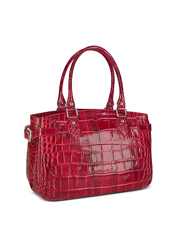 Forzieri Croco Stamped Patent Leather Tote Bag :  luxury croco designer handbags forzieri