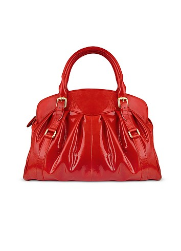 Forzieri Red Pleated Patent Leather Handbag :  glamour italian handbag women designer accessory
