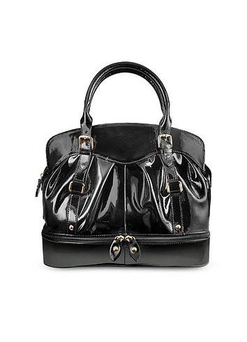 Forzieri Black Bowling-style Patent Leather Handbag
