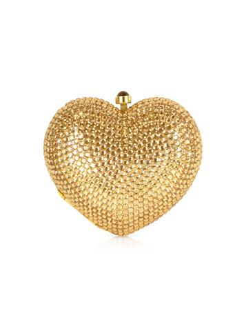 Forzieri Gold Crystal Jeweled Heart Clutch
