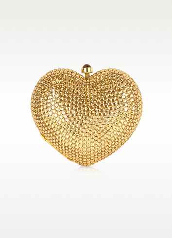 Gold Crystal Jeweled Heart Clutch  - Forzieri