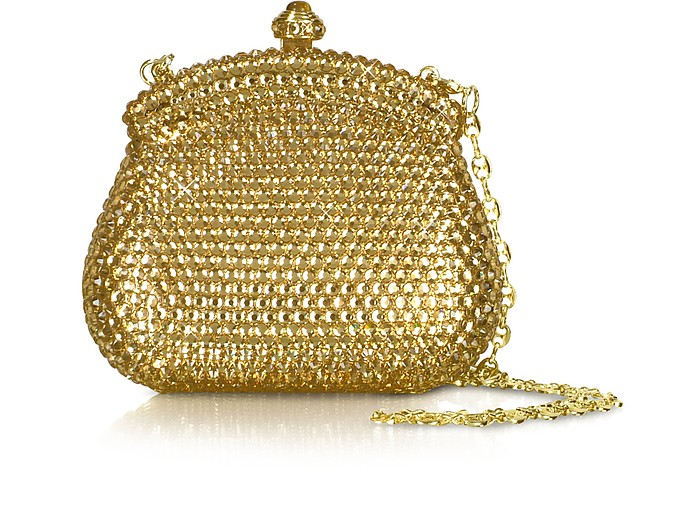 Gold Crystal Jeweled Evening Mini Hard Clutch w/Chain Strap - Julia Cocco'