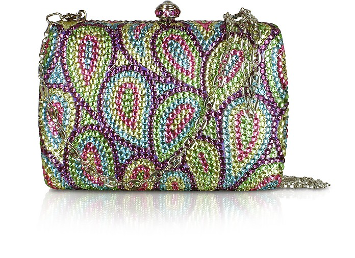 Multicolor Crystal Jeweled Evening Hard Clutch w/Chain Strap - Forzieri 福喜利