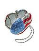 US Flag Crystal Jeweled Heart Clutch  - Julia Cocco'