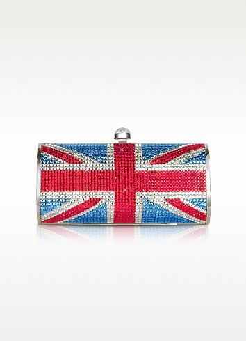 Union Jack Flag Crystal Jeweled Clutch  - Julia Cocco'