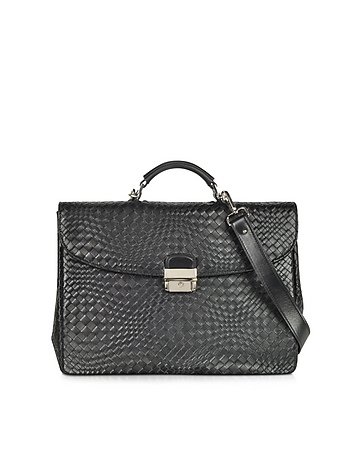 Forzieri - Black Woven Leather Briefcase