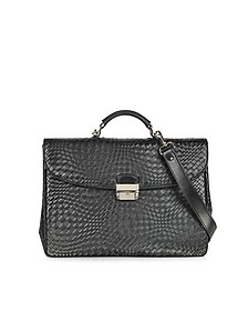 Black Woven Leather Briefcase - Forzieri