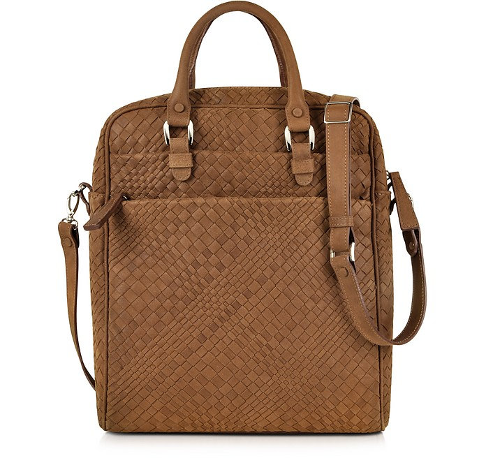 Brown Woven Suede Vertical Messenger Bag - Forzieri