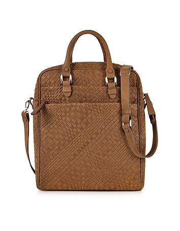 Forzieri - Brown Woven Suede Vertical Messenger Bag