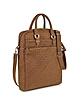 Brown Woven Suede Vertical Messenger Bag - Forzieri