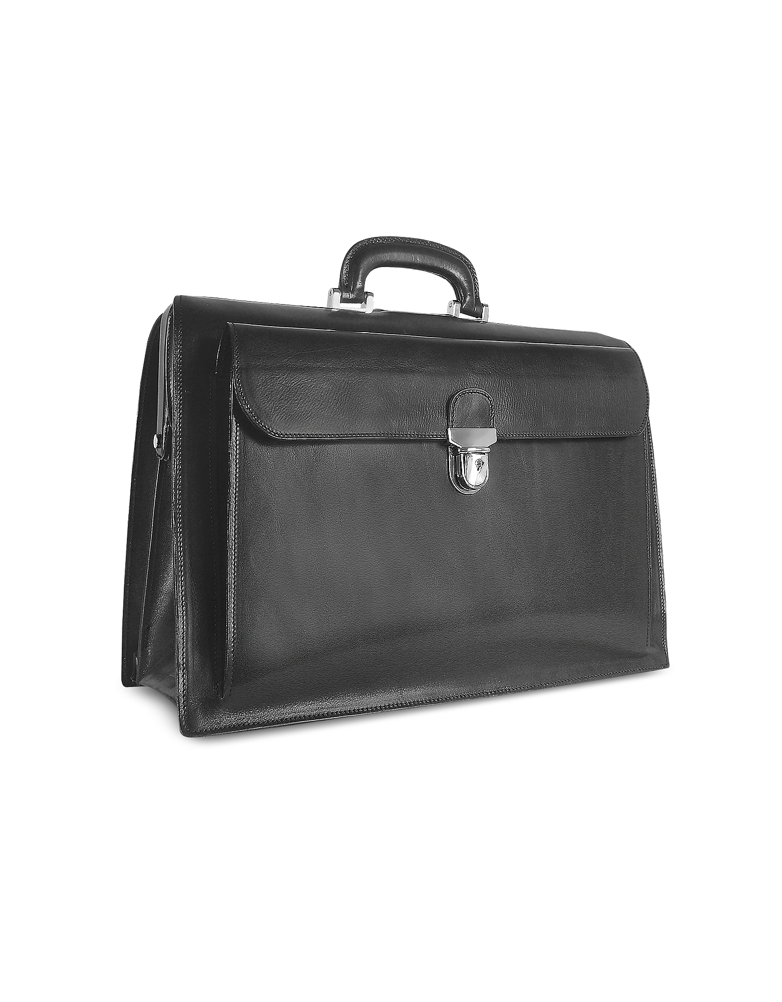 Forzieri Designer Briefcases,  Black Italian Leather Buckled Large Doctor Bag