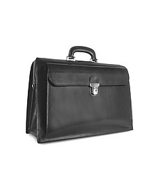 Black Italian Leather Buckled Large Doctor Bag - Forzieri