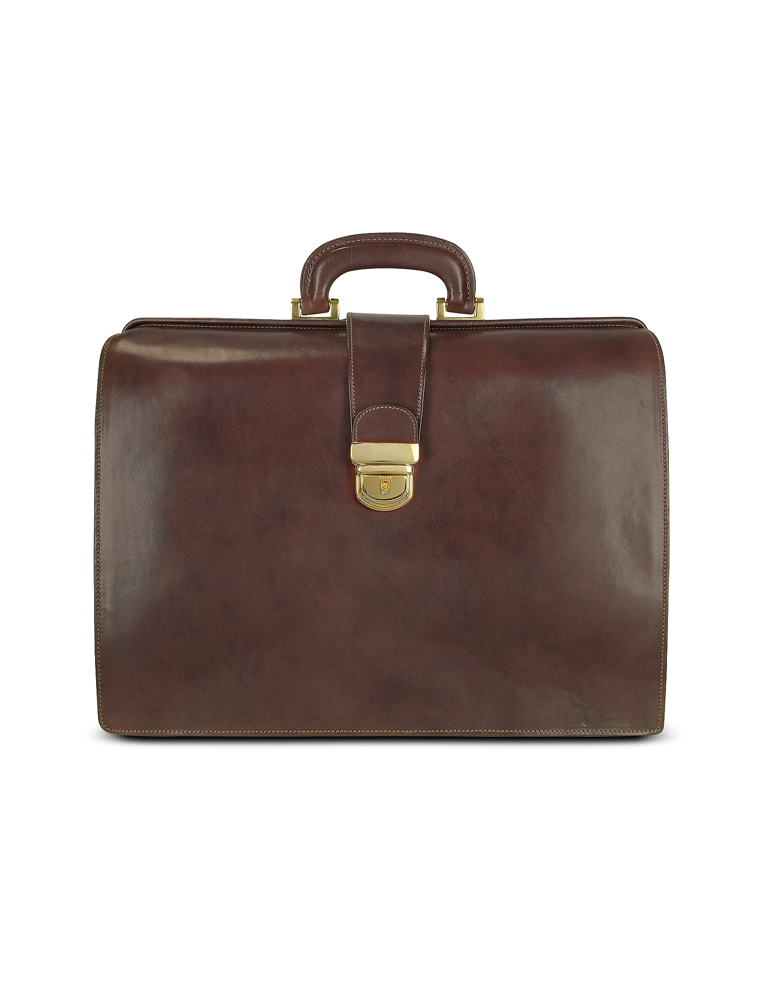 Forzieri Designer Briefcases,  Brown Italian Leather Buckled Large Doctor Bag