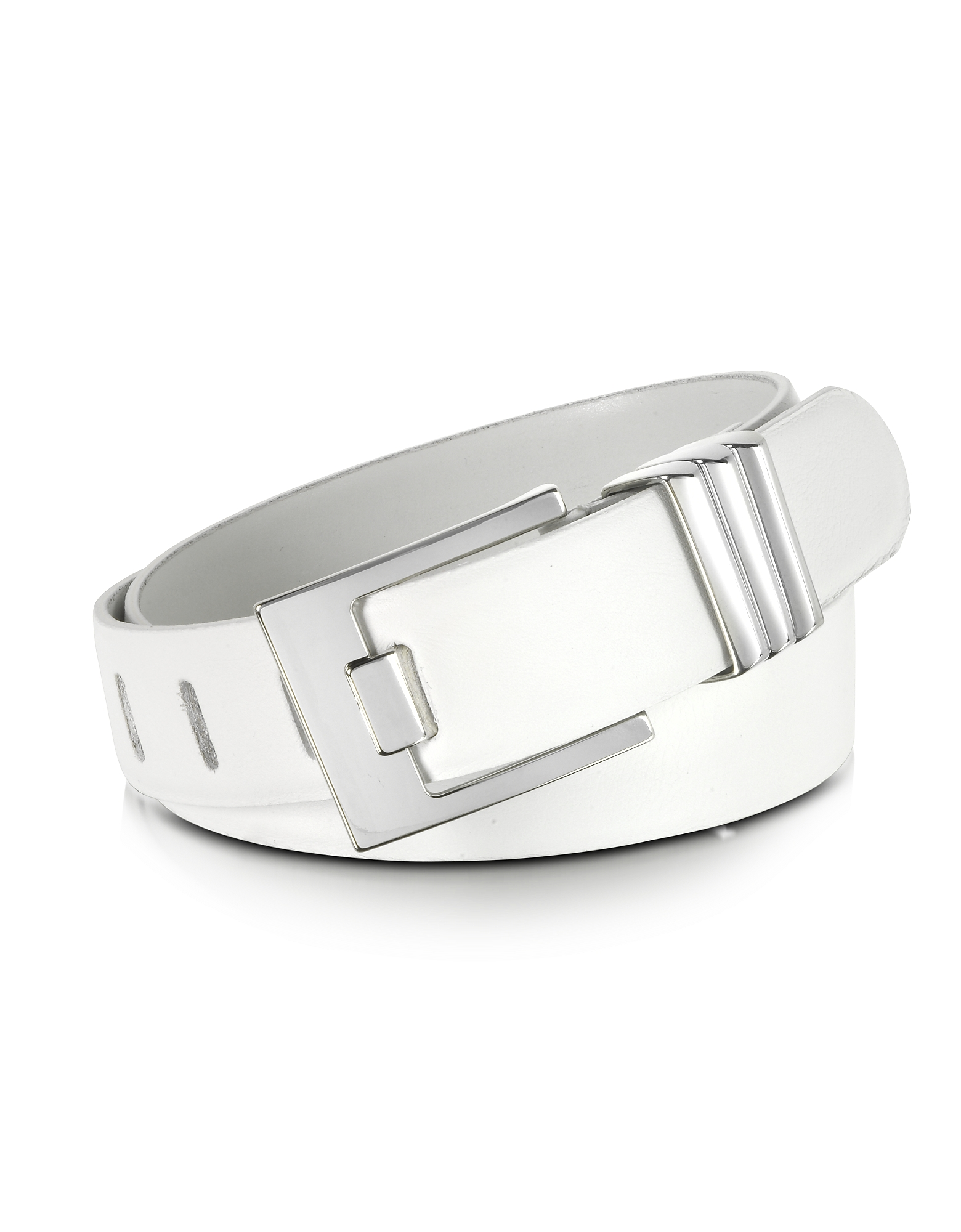 White Leather Belt