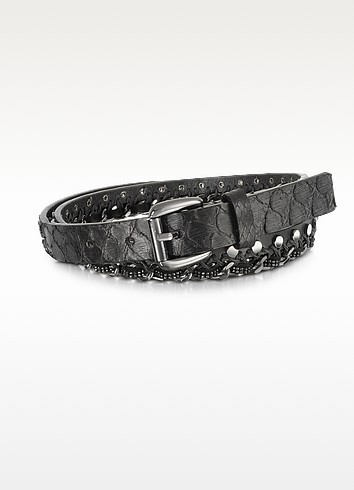 Black Python Chain and Studded Skinny Belt  - Forzieri