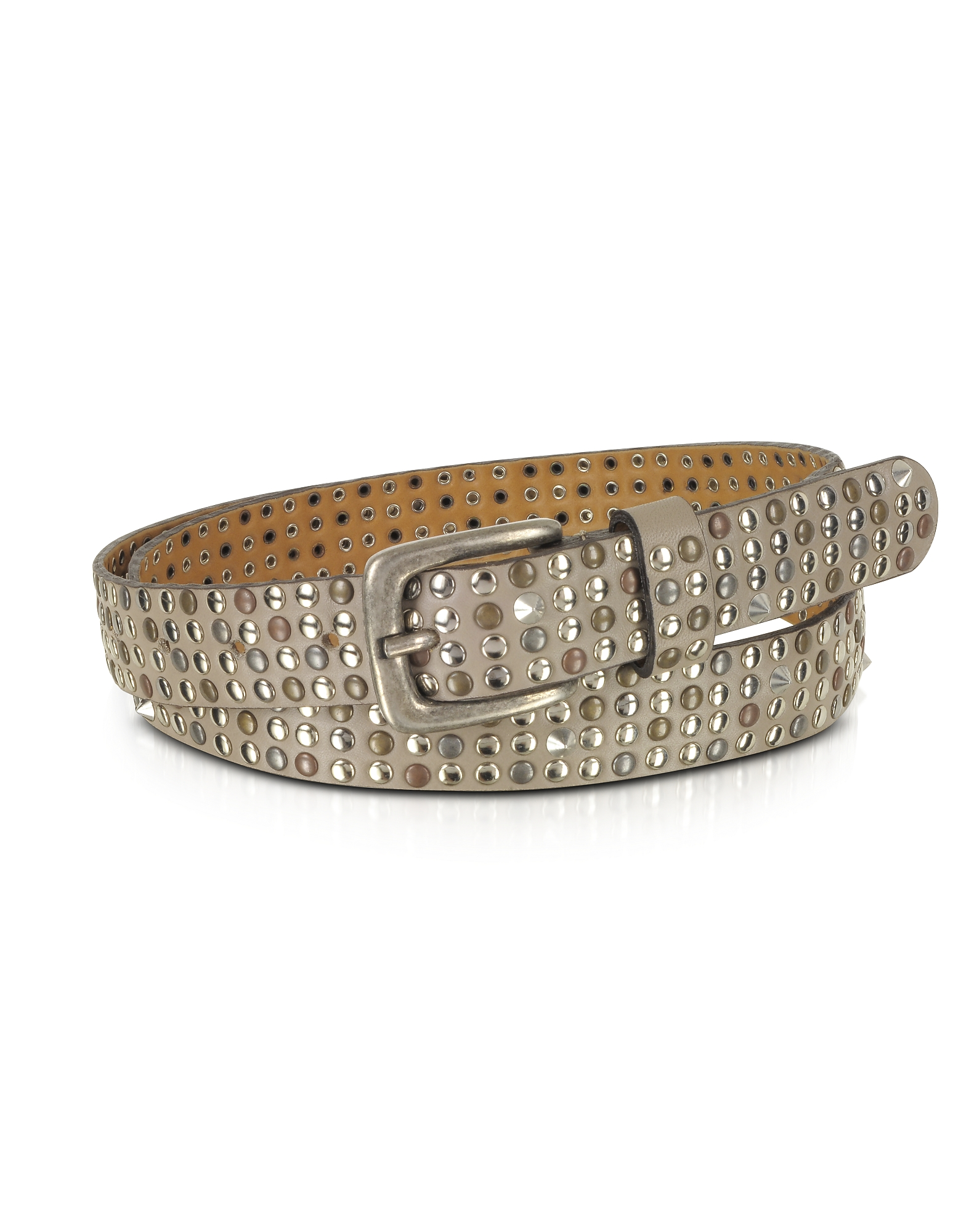 Taupe Studded Leather Belt