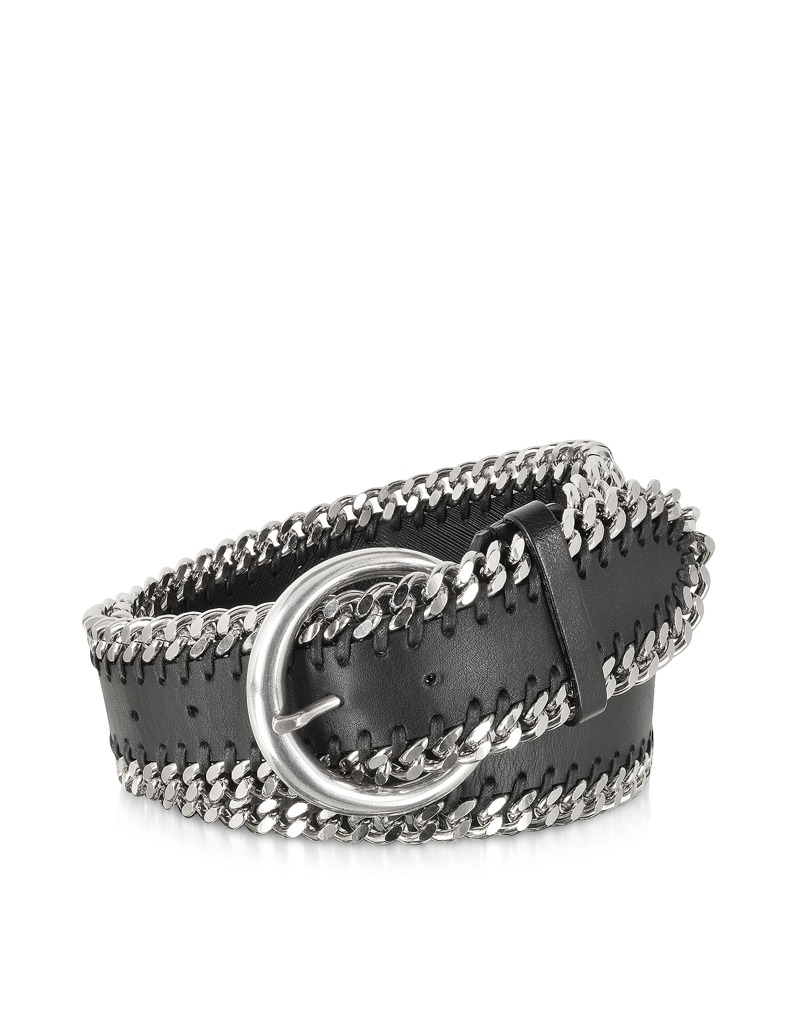 Black Leather Chain Belt