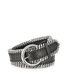 Black Leather Chain Belt - Forzieri