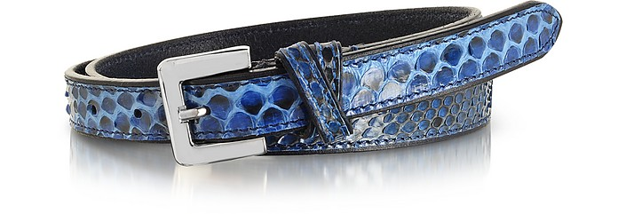 Blue Python Leather Skinny Women's Belt - Forzieri