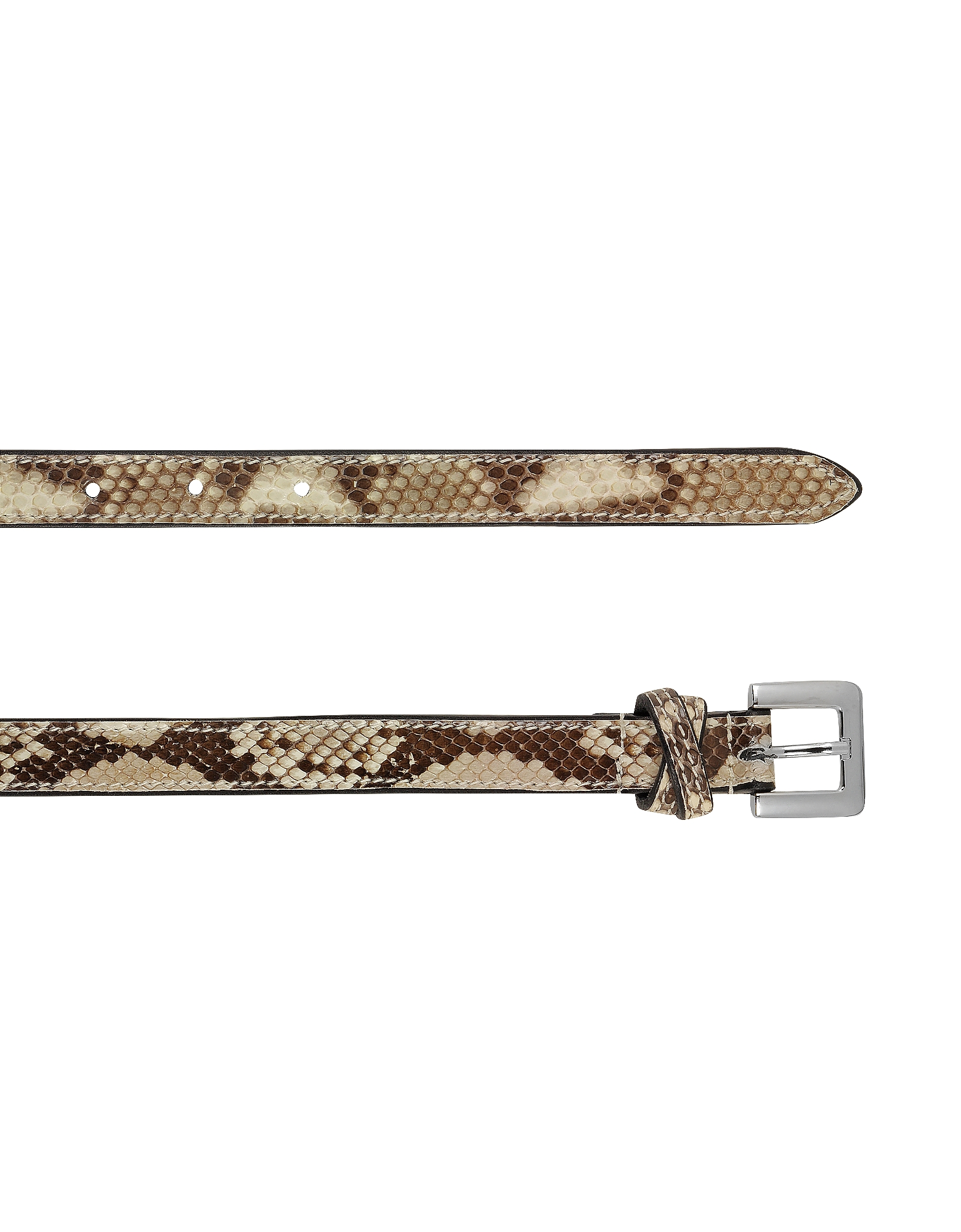 Ivory Python Leather Skinny Women's Belt от Forzieri INT